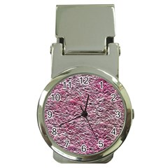 Leaves Pink Background Texture Money Clip Watches