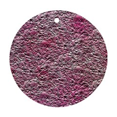 Leaves Pink Background Texture Round Ornament (two Sides)