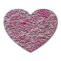 Leaves Pink Background Texture Heart Mousepads