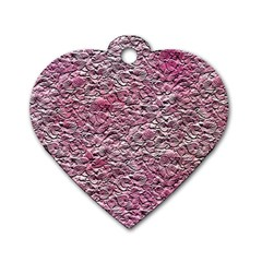 Leaves Pink Background Texture Dog Tag Heart (one Side)