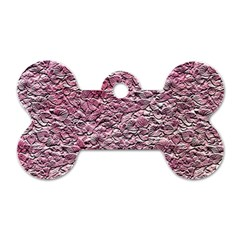 Leaves Pink Background Texture Dog Tag Bone (one Side)