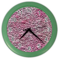Leaves Pink Background Texture Color Wall Clocks