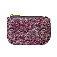 Leaves Pink Background Texture Mini Coin Purses