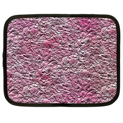 Leaves Pink Background Texture Netbook Case (xl)