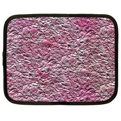 Leaves Pink Background Texture Netbook Case (xxl)