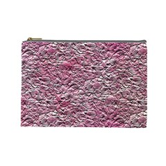 Leaves Pink Background Texture Cosmetic Bag (Large)