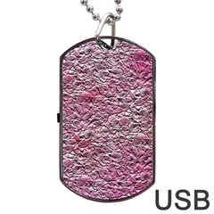 Leaves Pink Background Texture Dog Tag USB Flash (One Side)