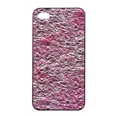 Leaves Pink Background Texture Apple iPhone 4/4s Seamless Case (Black)