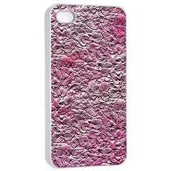 Leaves Pink Background Texture Apple Iphone 4/4s Seamless Case (white)