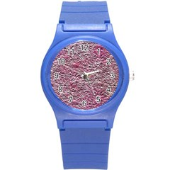 Leaves Pink Background Texture Round Plastic Sport Watch (s)