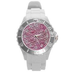 Leaves Pink Background Texture Round Plastic Sport Watch (l)