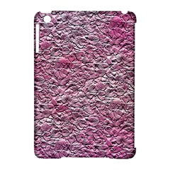 Leaves Pink Background Texture Apple Ipad Mini Hardshell Case (compatible With Smart Cover)