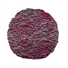 Leaves Pink Background Texture Standard 15  Premium Round Cushions