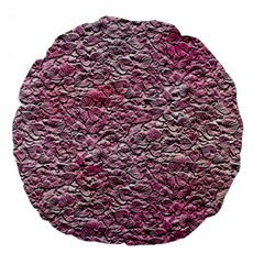 Leaves Pink Background Texture Large 18  Premium Round Cushions