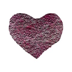 Leaves Pink Background Texture Standard 16  Premium Heart Shape Cushions