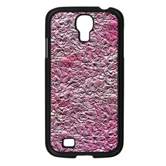 Leaves Pink Background Texture Samsung Galaxy S4 I9500/ I9505 Case (black)