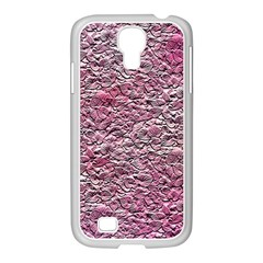 Leaves Pink Background Texture Samsung Galaxy S4 I9500/ I9505 Case (white)