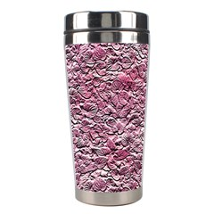 Leaves Pink Background Texture Stainless Steel Travel Tumblers