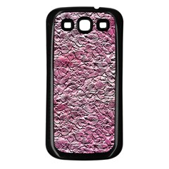 Leaves Pink Background Texture Samsung Galaxy S3 Back Case (black)