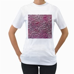 Leaves Pink Background Texture Women s T Shirt (white)