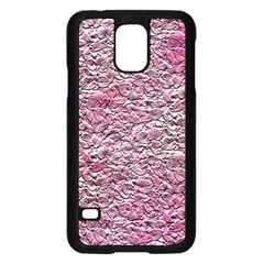 Leaves Pink Background Texture Samsung Galaxy S5 Case (Black)