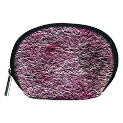 Leaves Pink Background Texture Accessory Pouches (medium)