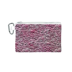 Leaves Pink Background Texture Canvas Cosmetic Bag (s)