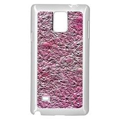 Leaves Pink Background Texture Samsung Galaxy Note 4 Case (white)