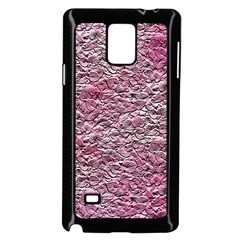 Leaves Pink Background Texture Samsung Galaxy Note 4 Case (black)