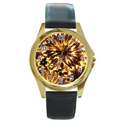 Mussels Lamp Star Pattern Round Gold Metal Watch
