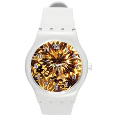 Mussels Lamp Star Pattern Round Plastic Sport Watch (m)