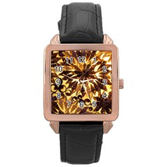 Mussels Lamp Star Pattern Rose Gold Leather Watch