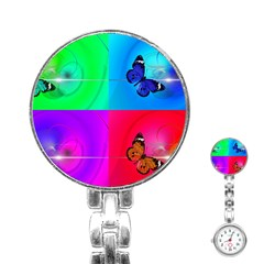 4 Butterflies Stainless Steel Nurses Watch