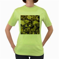 Color Abstract Background Textures Women s Green T-Shirt