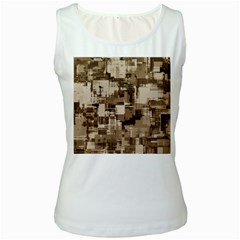 Color Abstract Background Textures Women s White Tank Top