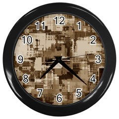 Color Abstract Background Textures Wall Clocks (Black)