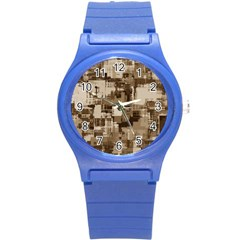 Color Abstract Background Textures Round Plastic Sport Watch (S)