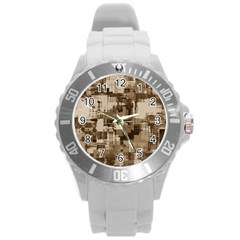 Color Abstract Background Textures Round Plastic Sport Watch (L)