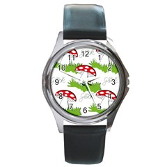 Mushroom Luck Fly Agaric Lucky Guy Round Metal Watch