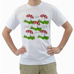Mushroom Luck Fly Agaric Lucky Guy Men s T Shirt (white) (two Sided)