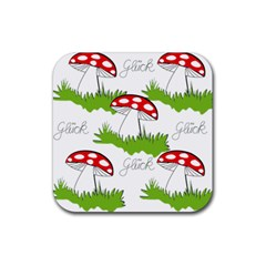 Mushroom Luck Fly Agaric Lucky Guy Rubber Coaster (square)