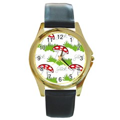 Mushroom Luck Fly Agaric Lucky Guy Round Gold Metal Watch