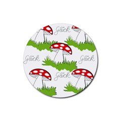 Mushroom Luck Fly Agaric Lucky Guy Rubber Coaster (Round)