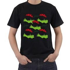 Mushroom Luck Fly Agaric Lucky Guy Men s T-Shirt (Black) (Two Sided)