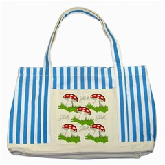 Mushroom Luck Fly Agaric Lucky Guy Striped Blue Tote Bag