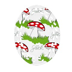 Mushroom Luck Fly Agaric Lucky Guy Ornament (oval Filigree)