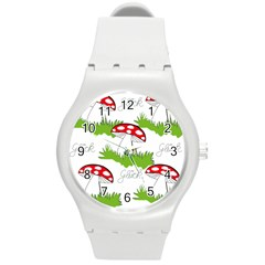 Mushroom Luck Fly Agaric Lucky Guy Round Plastic Sport Watch (M)