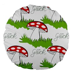 Mushroom Luck Fly Agaric Lucky Guy Large 18  Premium Round Cushions
