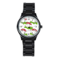 Mushroom Luck Fly Agaric Lucky Guy Stainless Steel Round Watch