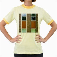 Pattern Symmetry Line Windows Women s Fitted Ringer T Shirts